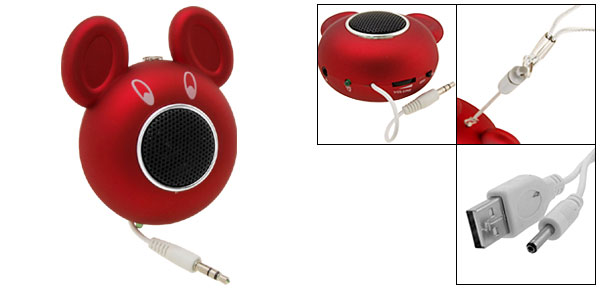 Portable Happy Red Mouse Speakers Built-in Lithium battery