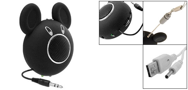 Portable Happy Black Mouse Speakers Built-in Lithium battery