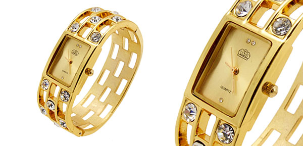 Fashion Jewelry Golden Sparkling Diamond Bangle Design Ladies Quartz Watch Golden Dial