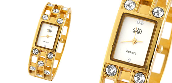 Fashion Jewelry Golden Sparkling Diamond Bangle Design Ladies Quartz Watch White Dial