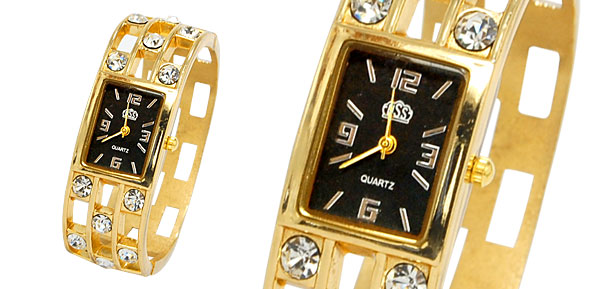 Fashion Jewelry Golden Sparkling Diamond Bangle Design Ladies Quartz Watch Black Dial