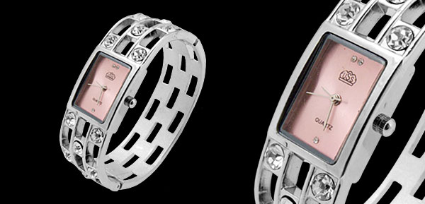 Fashion Jewelry Silver Sparkling Diamond Bangle Design Ladies Quartz Watch Pink Dial