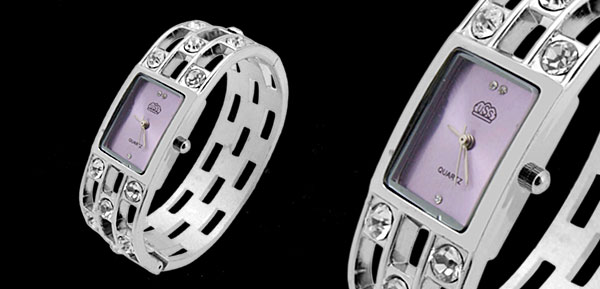 Fashion Jewelry Silver Sparkling Diamond Bangle Design Ladies Quartz Watch Purple Dial