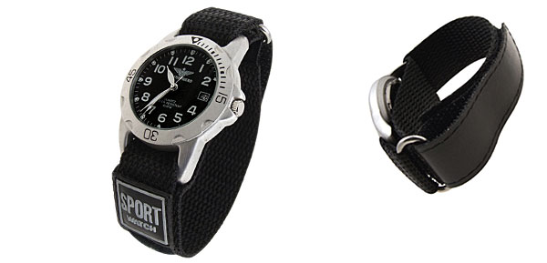 Fashion Quartz Sport Nylon Wrist Watches with Black Dial