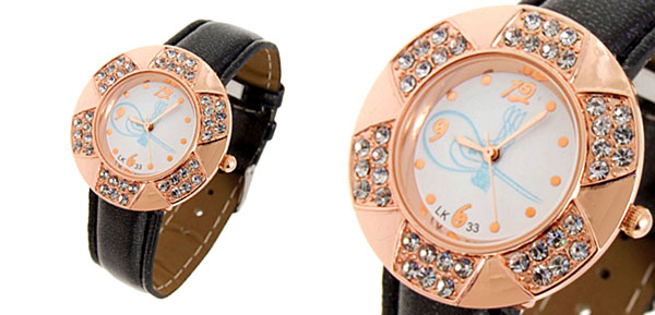 Fashion Jewelry Golden Leaves Design Diamond Ladies Leather Quartz Wrist Watch Black Band