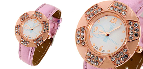 Fashion Jewelry Golden Leaves Design Diamond Ladies Leather Quartz Wrist Watch Purple Band