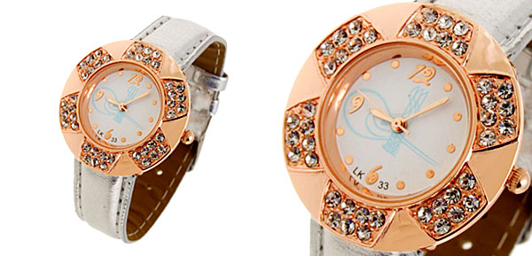 Fashion Jewelry Golden Leaves Design Diamond Ladies Leather Quartz Wrist Watch Silver Band