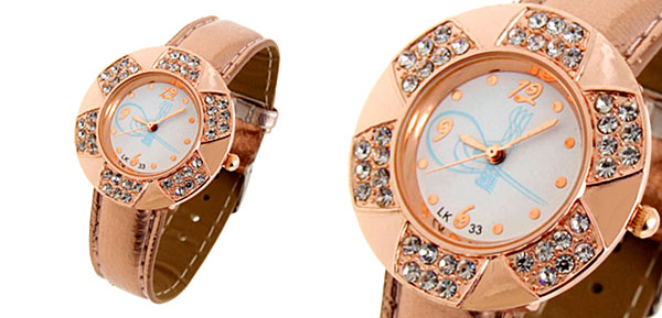 Fashion Jewelry Golden Leaves Design Diamond Ladies Leather Quartz Wrist Watch