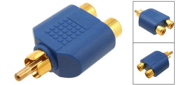 Blue 2 RCA Female to RCA Male Audio Adapter Converter