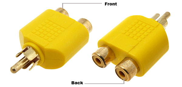 Yellow 2 RCA Female to RCA Male Audio Adapter Converter