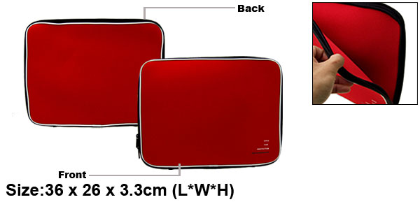 14.1'' Computer PC Laptop Notebook Holder Sleeve Red Carrying Case Bag