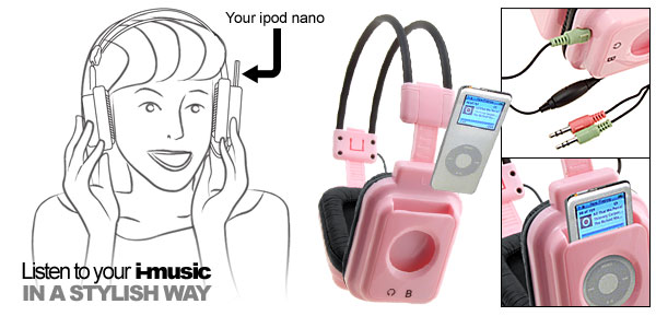 Multimedia Pink Stereo Audio Microphone Headset Headphones Earphones for iPod Nano 2G