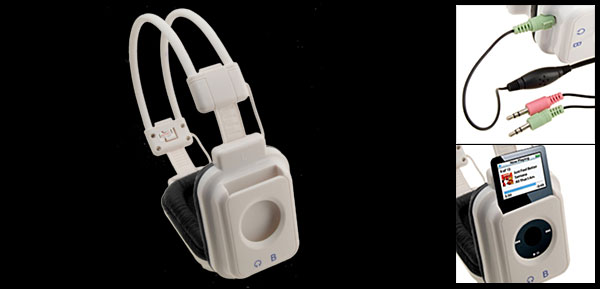 Multimedia White Stereo Audio Microphone Headset Headphones Earphones for iPod Nano