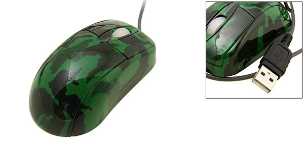 Army Green 800 DPI USB Optical Mini Computer Mouse for Notebook PC