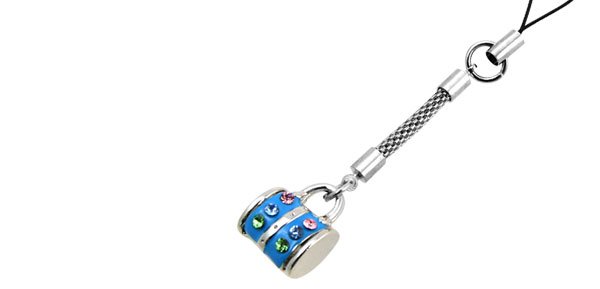 Jewelry Blue Handbag Rhinestone Mobile Cell Phone Pendant Strap
