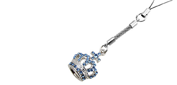 Jewelry Crown Blue Rhinestone Mobile Cell Phone Pendant Strap