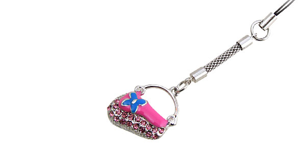 Jewelry Pink Handbag Rhinestone Mobile Cell Phone Pendant Strap
