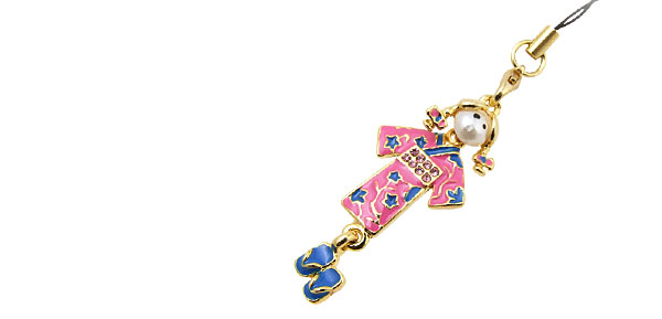 Jewelry Kimono Girl Rhinestone Mobile Cell Phone Pendant Strap