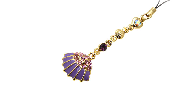 Jewelry Purple Palm-leaf Fan Rhinestone Mobile Cell Phone Pendant Strap