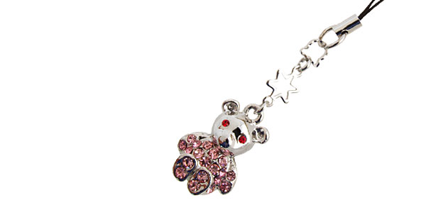 Jewelry Lovely Bear Rhinestone Mobile Cell Phone Pendant Strap