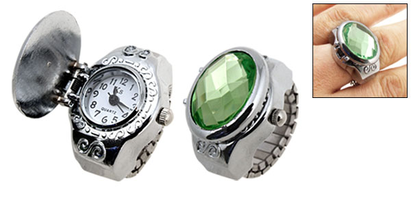 Man-made Diamond Fashion Stylish Strap Ring Watch