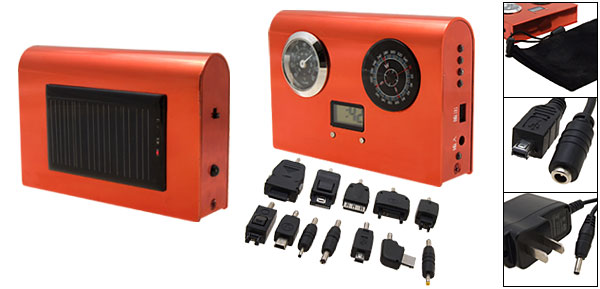 Compact Solar Charger with 12 Adapters and Clock Thermometer Hygrometer Compass