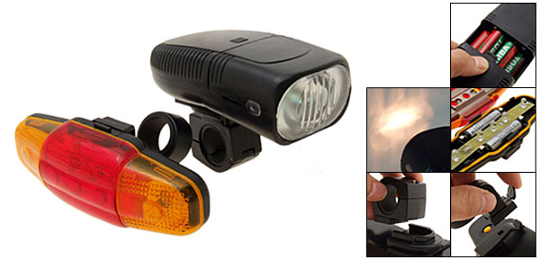 Super Bright Bike Headlight 5 Rear Flash Light Lamp Bicycle Torch
