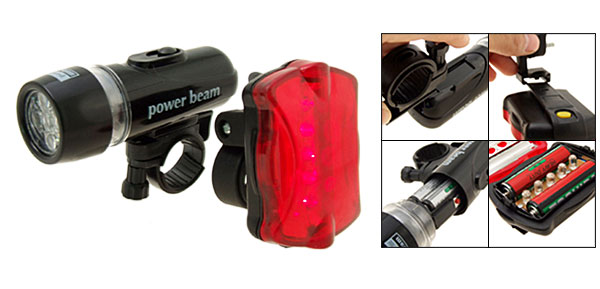 5 LED Bike Headlight Rear Warning Flash Light Bicycle Torch