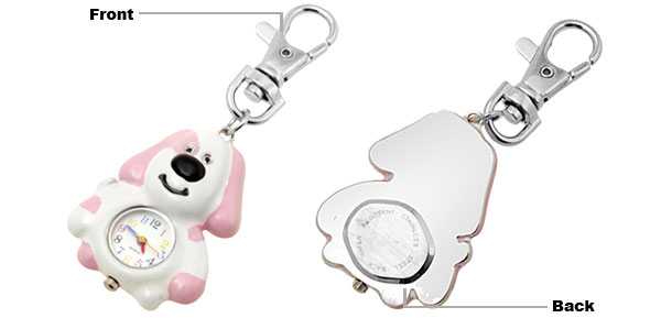 Cute Pink Cartoon Dog Model Key Chain Watch Clock