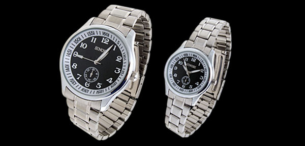 Fashion Jewelry Black Dial Man's and Lady's Lover Pair of Quartz Wrist Watches