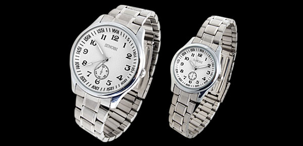 Fashion Jewelry White Dial Man's and Lady's Lover Pair of Quartz Wrist Watches