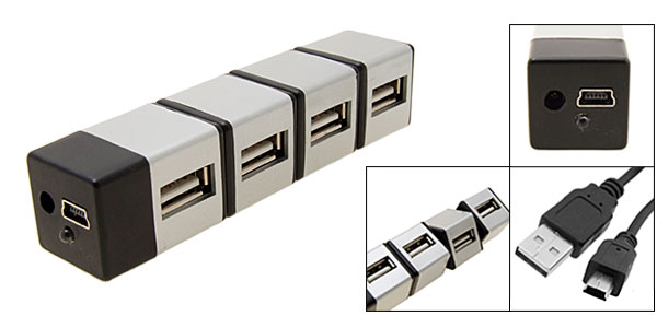 USB 2.0/1.1 Hi-Speed 4 Port Hub for Laptop PC Silver