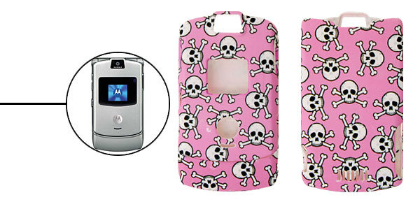 Pink Skull and Cross Bones Design Plastic Protector Hard Case for Motorola V3
