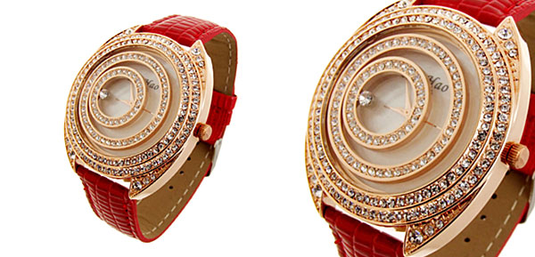 Fashion Jewelry Golden Moveable Cirque Diamond Ladies Leather Watch Red Band