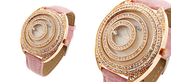 Fashion Jewelry Golden Moveable Cirque Diamond Ladies Leather Watch Pink Band