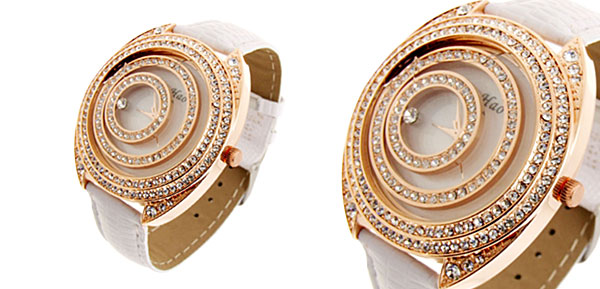 Fashion Jewelry Golden Moveable Cirque Diamond Ladies Leather Watch White Band