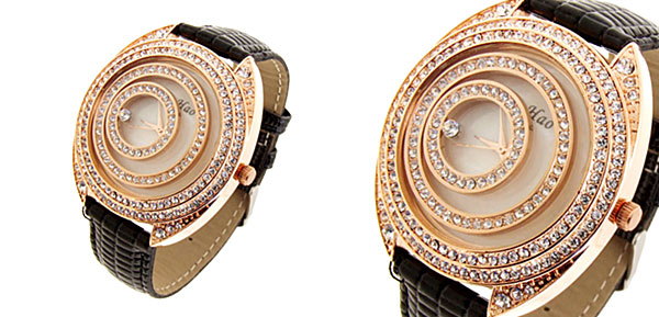Fashion Jewelry Golden Moveable Cirque Diamond Ladies Leather Watch Black Band
