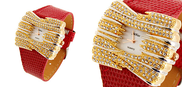 Fashion Jewelry Golden Bowknot Diamond Ladies Leather Dress Watch Red Band
