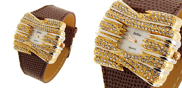 Fashion Jewelry Golden Bowknot Diamond Ladies Leather Dress Watch Brown Band