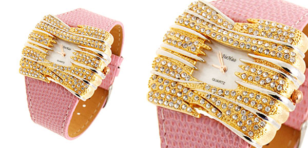 Stylish Golden Bowknot Diamond Ladies Leather Dress Watch Pink Band