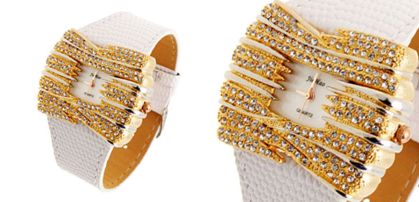 Fashion Jewelry Golden Bowknot Diamond Ladies Leather Dress Watch White Band