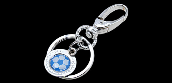 Mini Blue & white Soccer Ball Metal Keyring Keys Ring