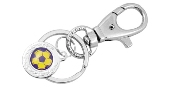 Mini Purple & Yellow Soccer Ball Metal Keyring Keys Ring