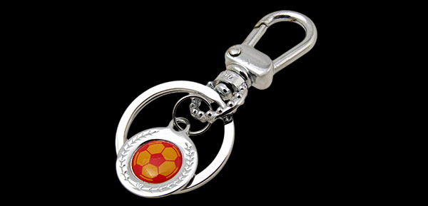 Mini Red & Yellow Soccer Ball Metal Keyring Keys Ring