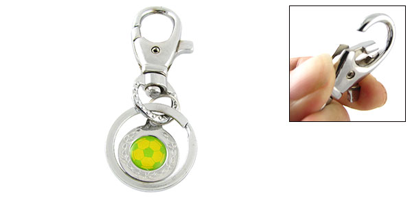 Mini Green & Yellow Soccer Ball Metal Keyring Keys Ring