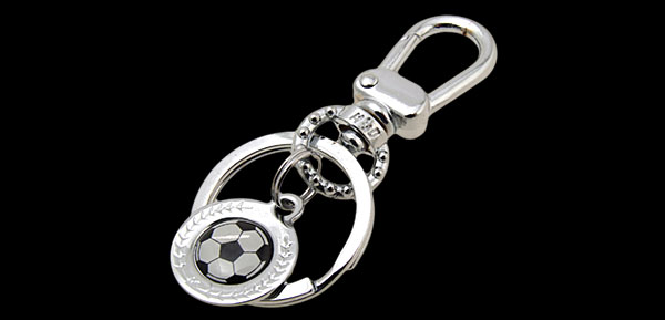 Mini Black & white Soccer Ball Metal Keyring Keys Ring