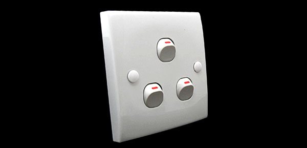 White 10A 250V 3 Gang Wall Light Switch