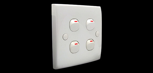 White 10A 250V 4 Gang Wall Light Switch