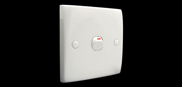 1 Gang Wall Light Switch White 250V 10A