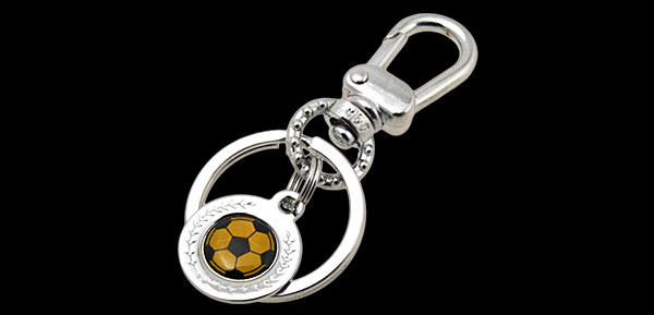 Mini Black & Yellow Soccer Ball Metal Keyring Keys Ring